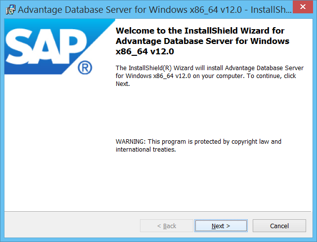 SAP branded ADS 12 Installation Wizard